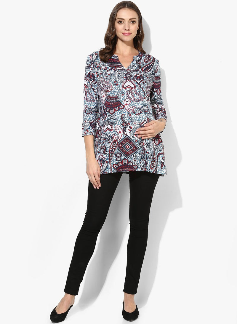 Maternity Top Split Neck Multi-color Rayon Print