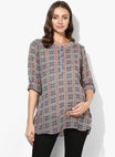 Maternity Top Round Neck Georgette Abstract Print