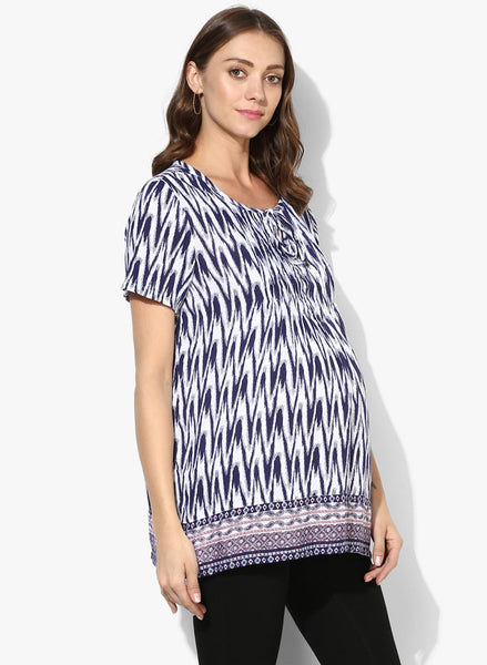 Maternity Top  Short Sleeves White