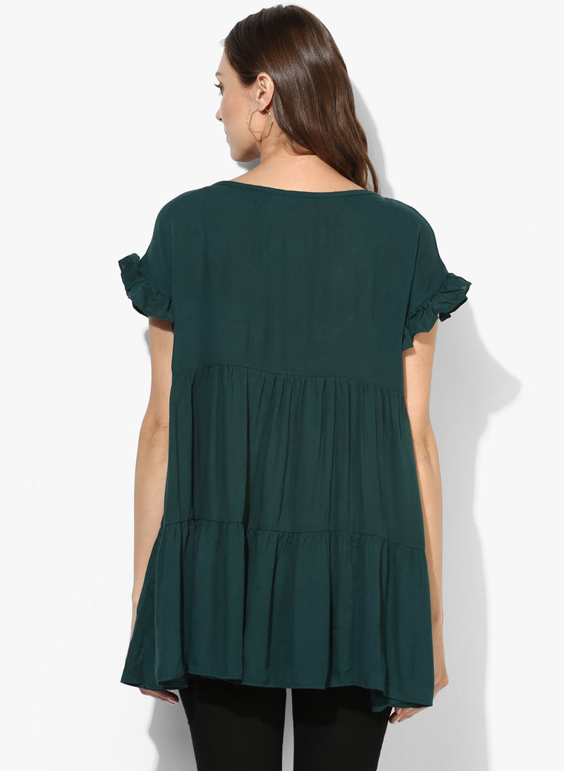 Maternity Top Round Neck Solid Green
