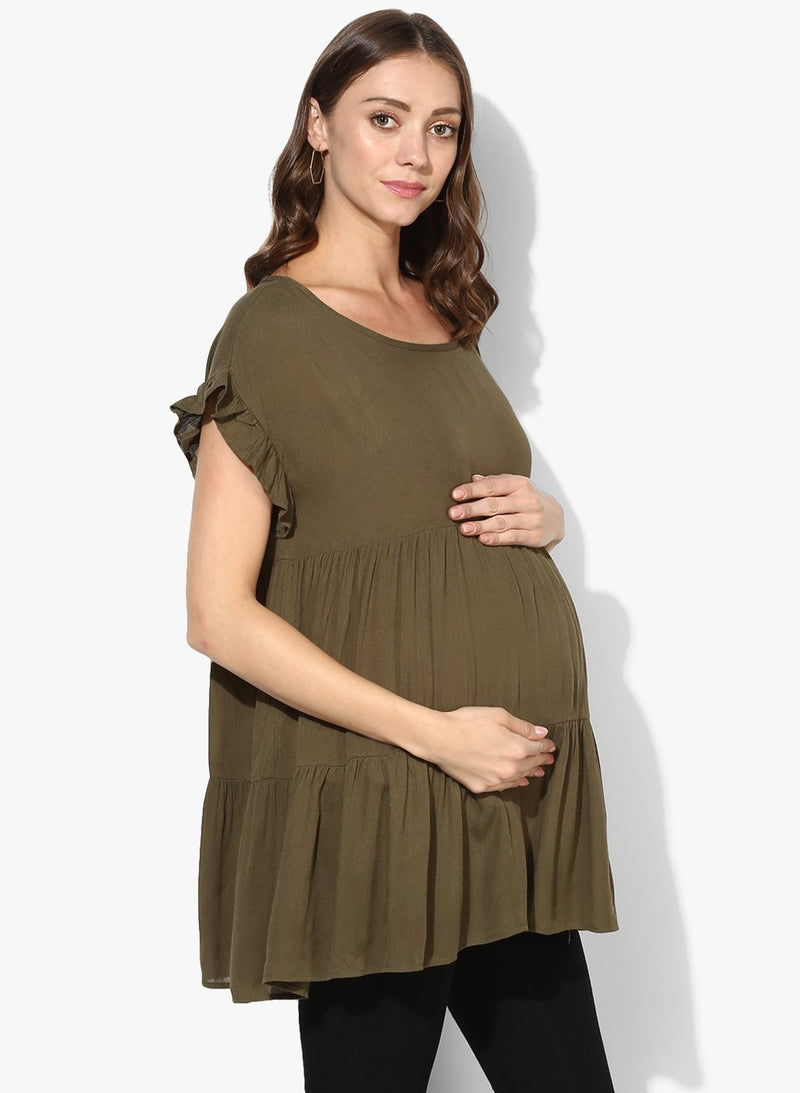 Maternity Top Round Neck Solid Mehndi Green