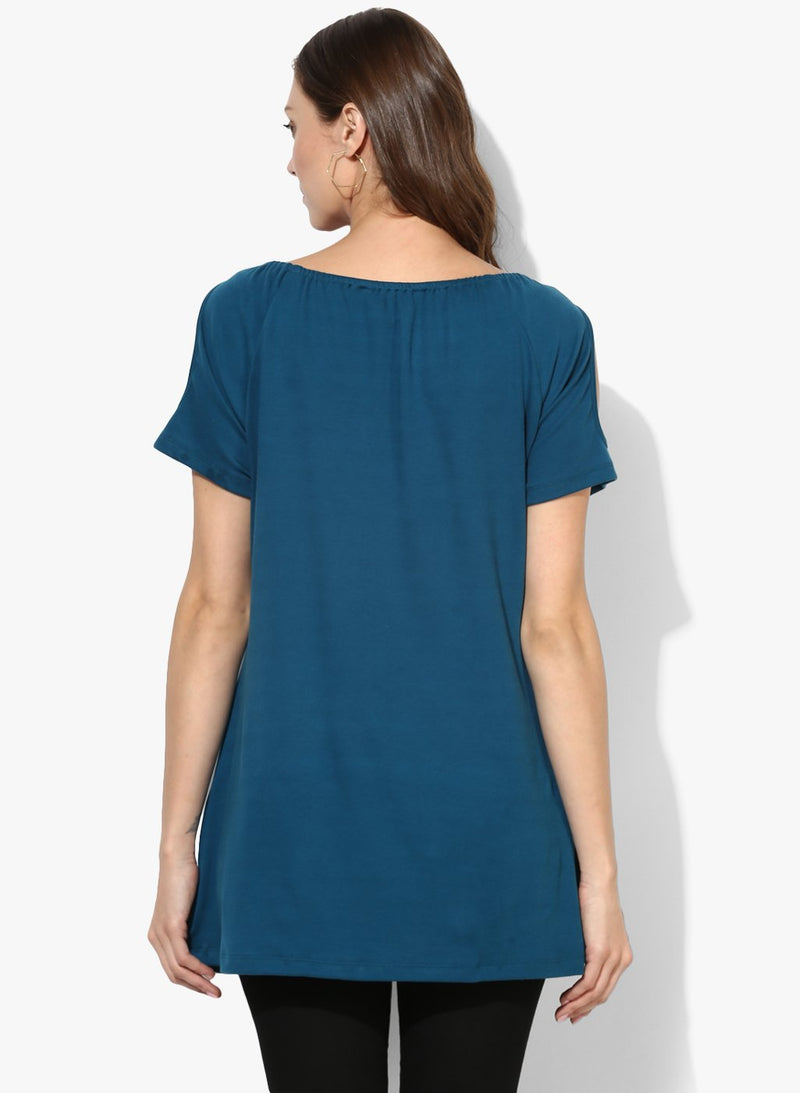 Maternity Top Shoulder Cut Cyan Green Solid
