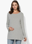 Maternity T-Shirt Black & White Stripes