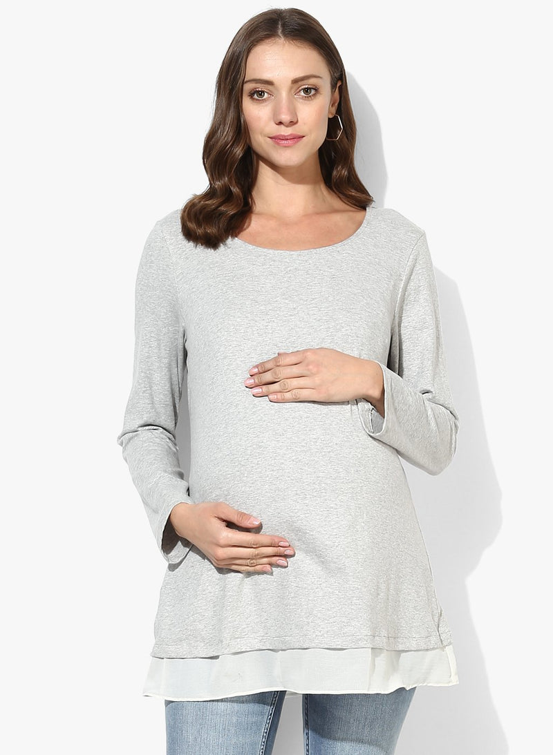 Maternity Top Solid Grey