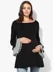 Maternity Top Bell Sleeves Solid Black