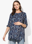 Maternity Top Round Neck Abstract Blue