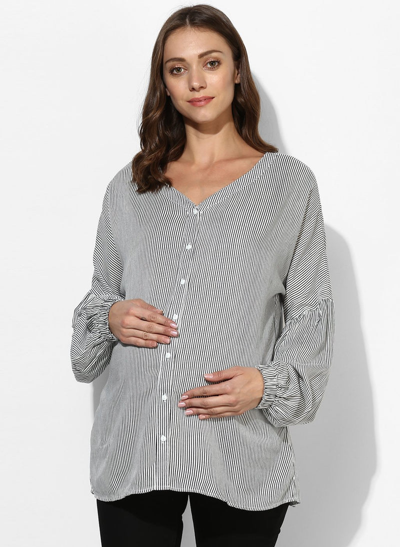 Maternity Shirt Black & White Stripes
