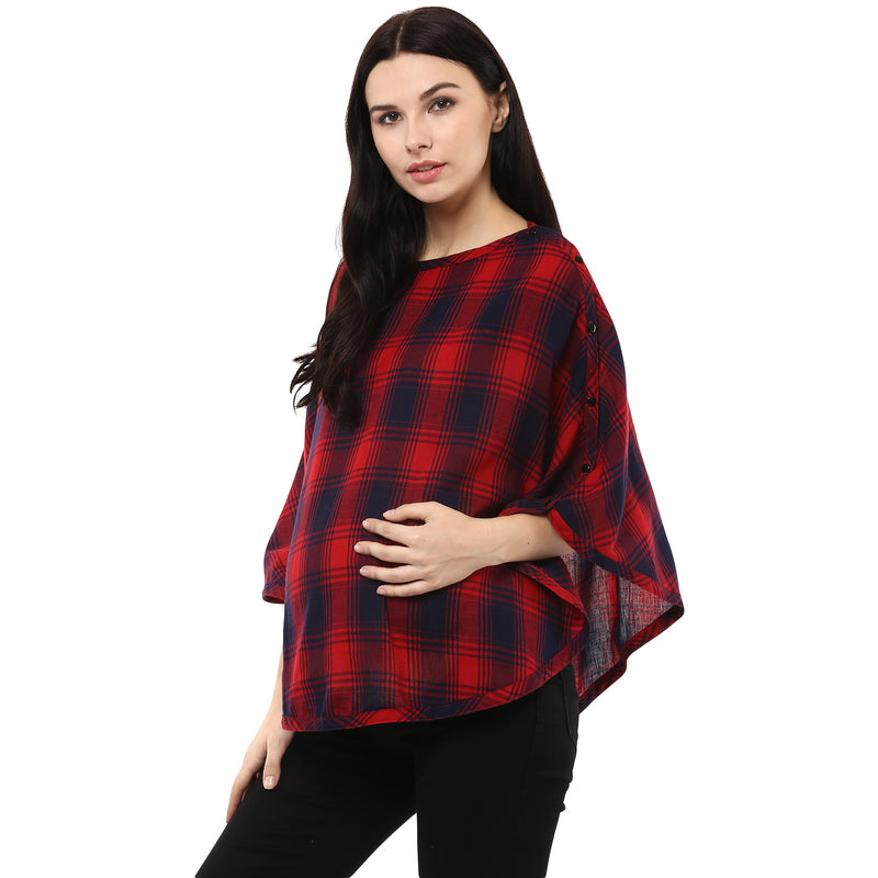 Poncho for Maternity & Feeding with Side Button Closure