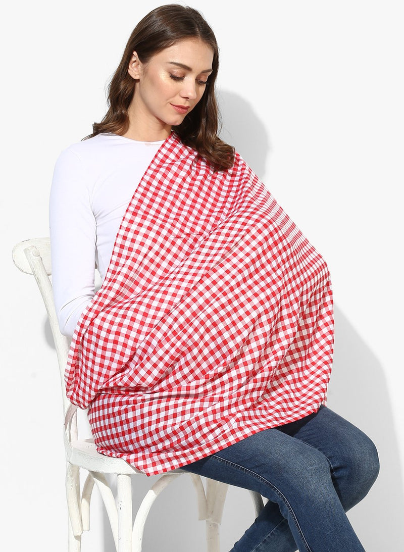 Nursing Scarf Red & White Small Checks Rayon