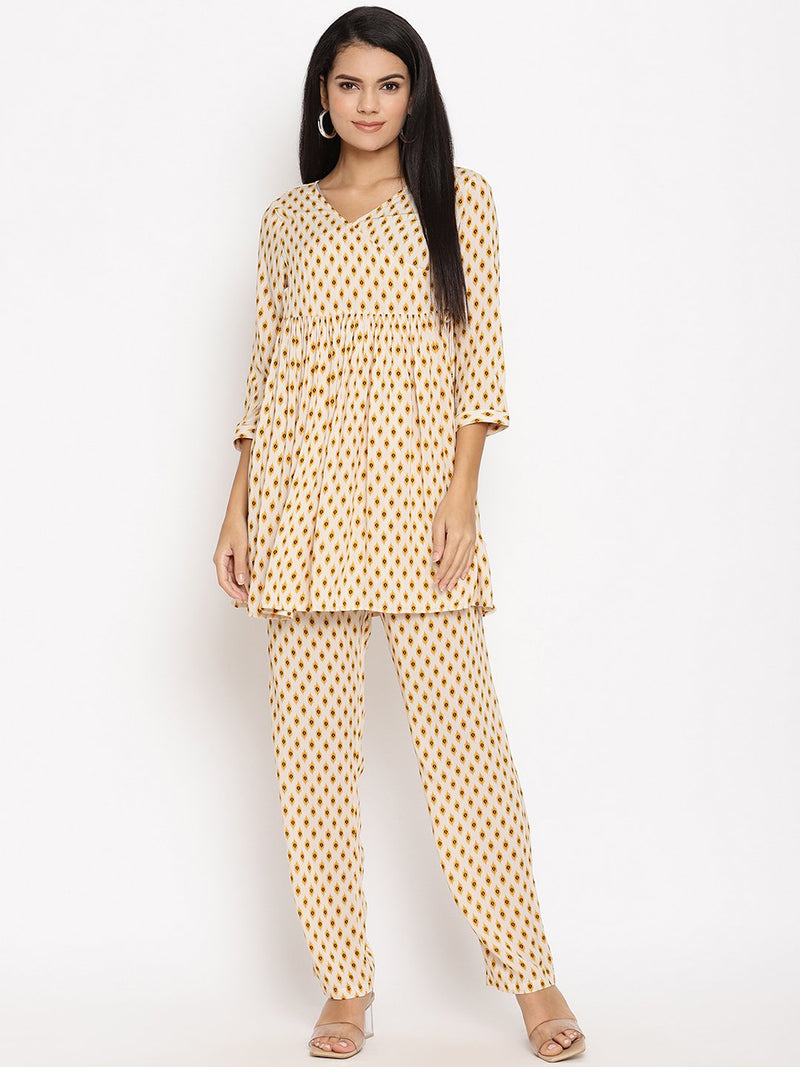 2pc. Maternity pants with Feeding Kurti in Cotton Angrakha style
