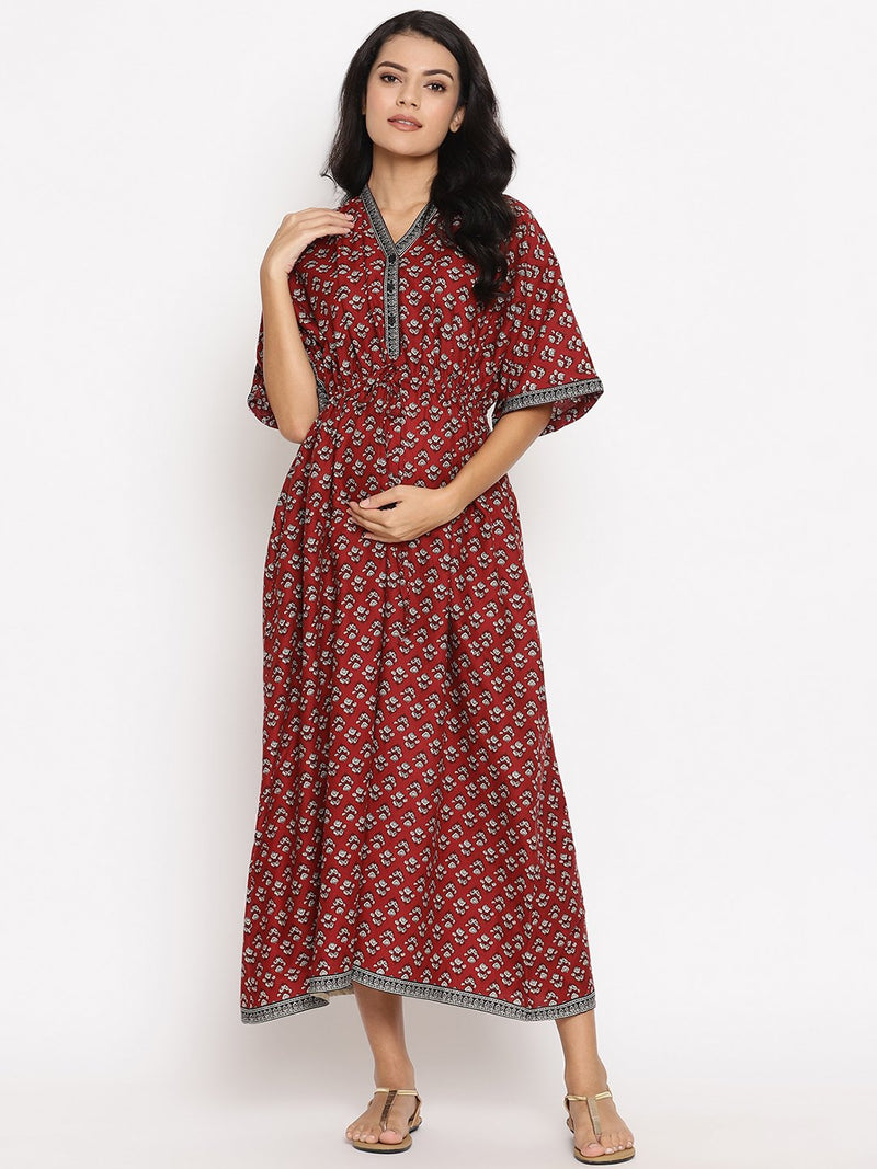 Maternity & Nursing Casual Kaftan Maxi Dress with Buttons