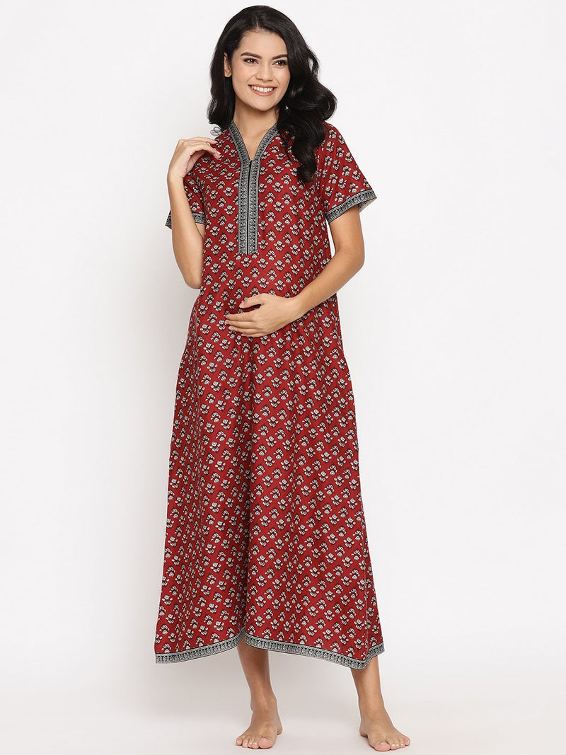 Maternity & Feeding Cotton Lounge Dress with Zip