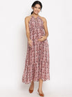 Maternity & Nursing Halter Maxi Dress with Neck Tie