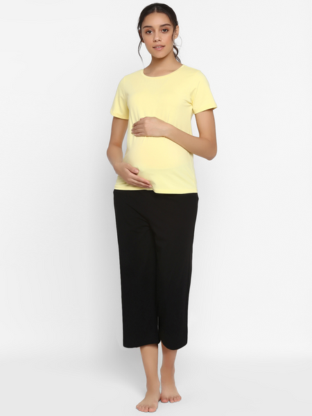 Cotton 2-Piece Maternity Tee & Capri Pajama Set