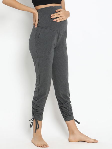 Cotton Knit Ruched Maternity Leggings