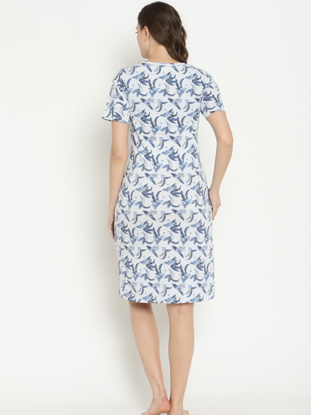 Maternity Leaf Print Summer Dress