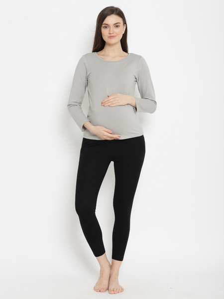 High Waisted Maternity Leggings- Winter Weight French Terry