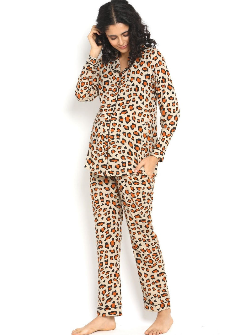 2-pc. Leopard-print Maternity Pajama Set