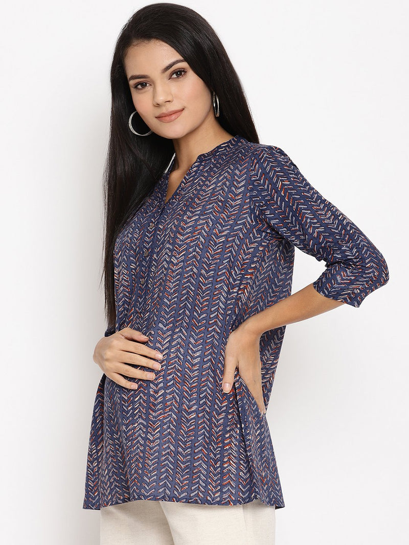 Button Front Cotton Maternity & Nursing Tunic Top