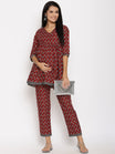 2pc. Maternity & Nursing Angrakha Short Kurta with Pregnancy Pants Set