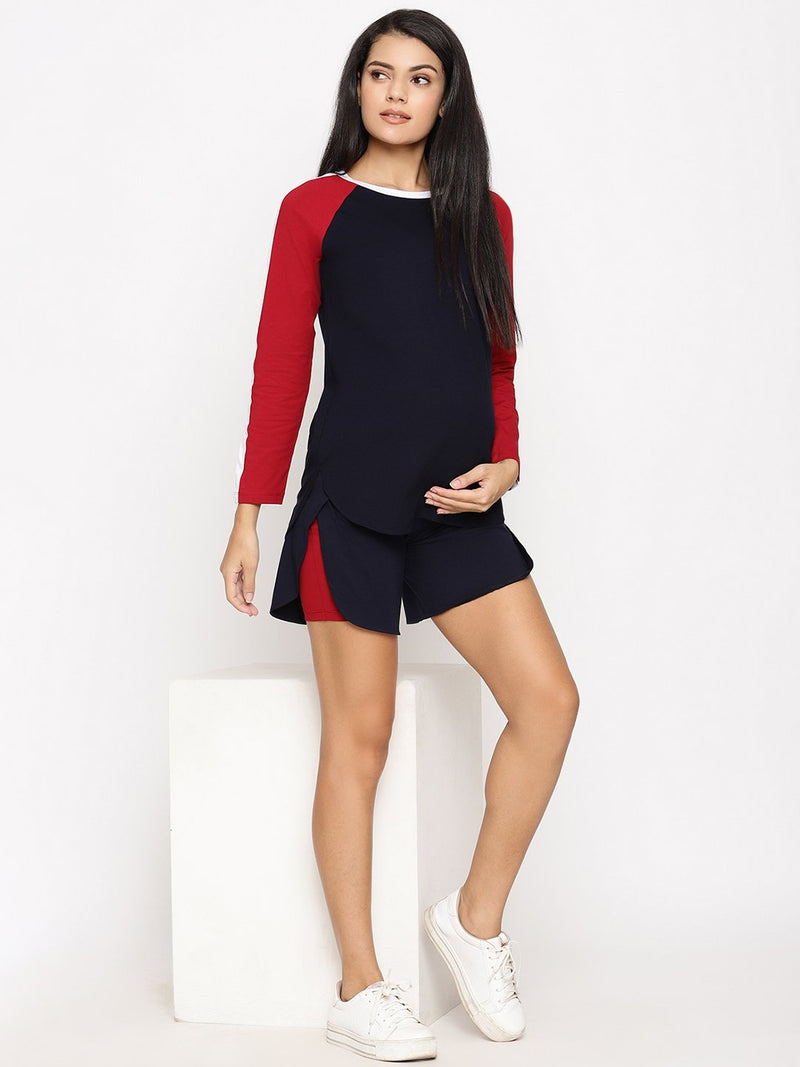 High-Rise Double Layered Maternity Shorts with Inner Tights