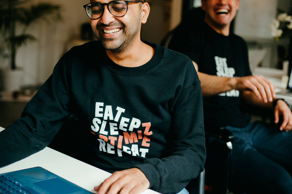 Eat Sleep Optimize Repeat Distilled Black Crewneck