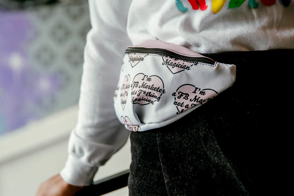I HEART YOU FB MARKETER Fanny Pack White