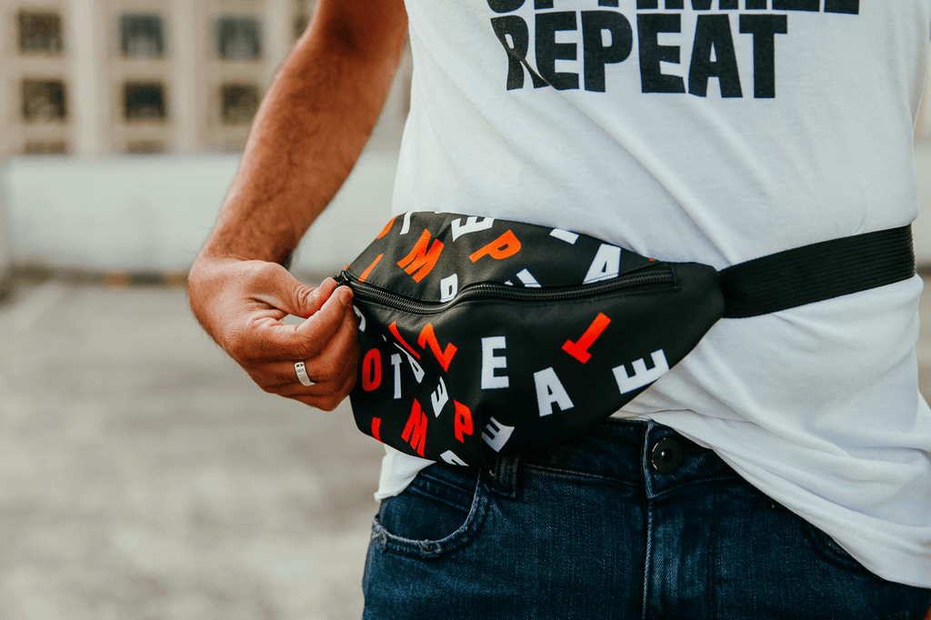 Eat Sleep Optimize Repeat Fanny pack Black