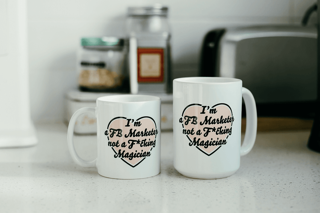 I'm a FB Marketer Not a F*cking Magician Heart Mugs