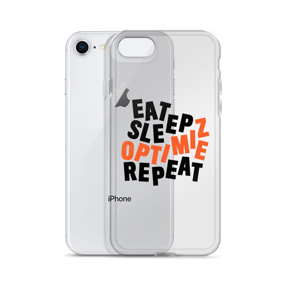 EAT SLEEP DISTILLED iPhone Case Black & Orange