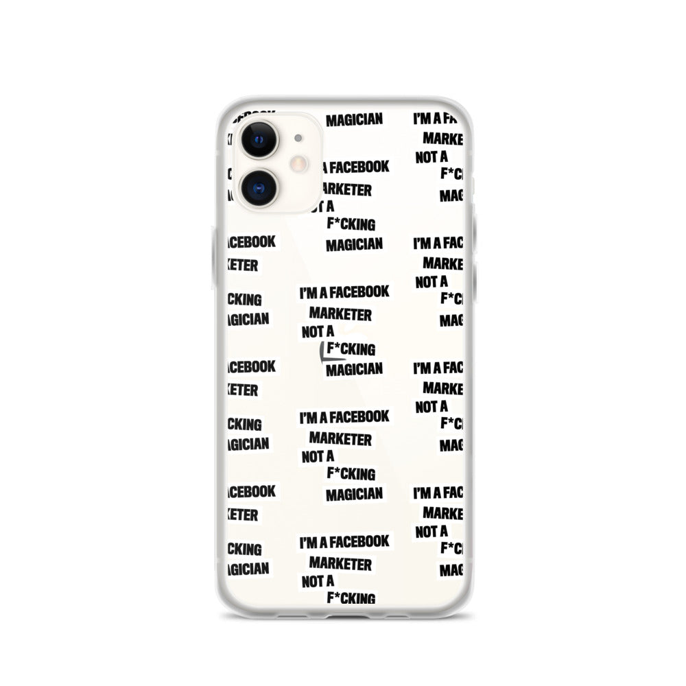 I'M A FB MARKETER iPhone Case White Multi