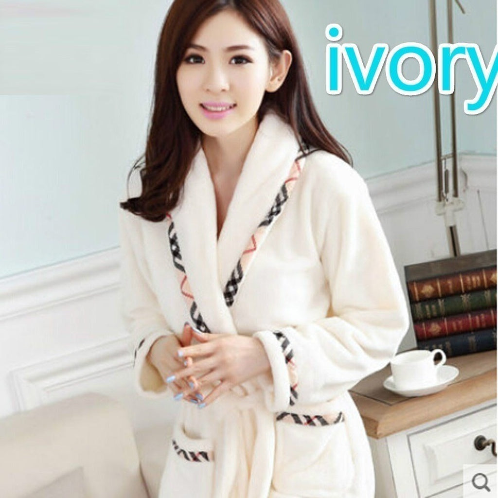 LSXQWE Flannel Hooded Couples Bathrobes Women\'s Robes Winter ...