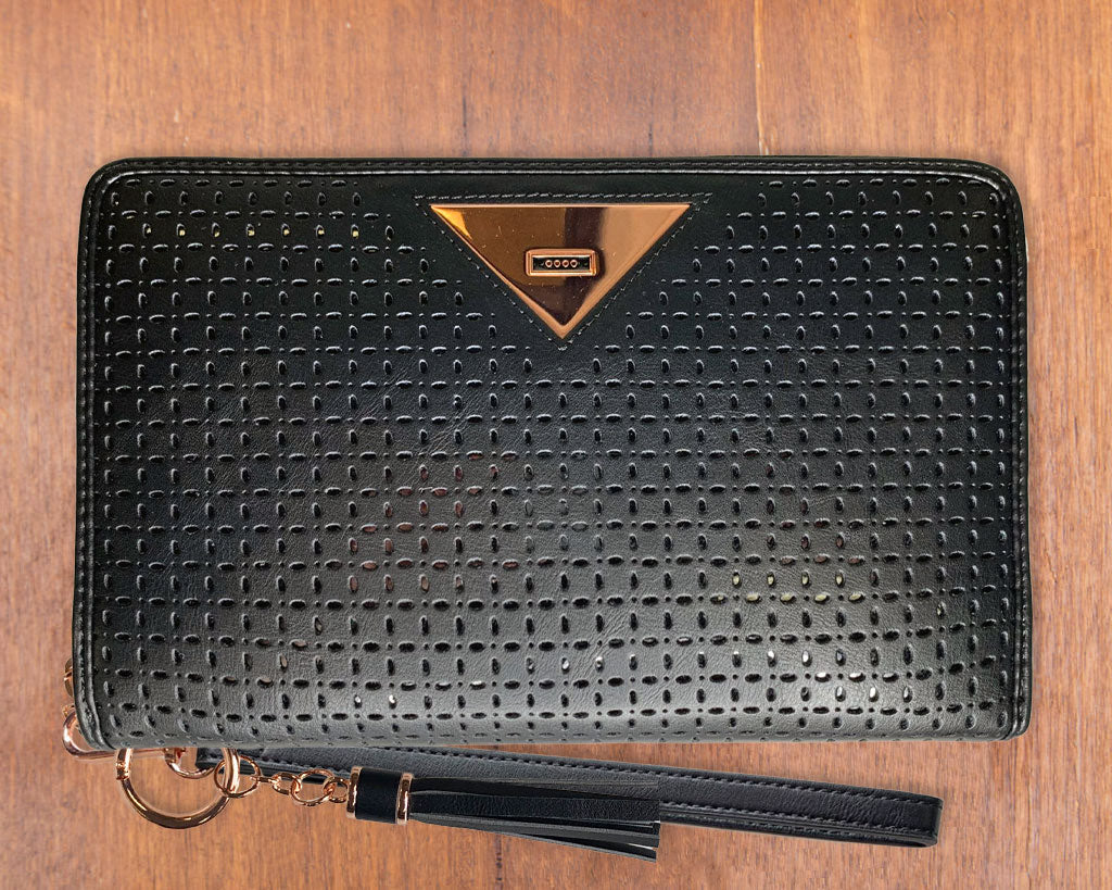 Large Purse: Black/Patent (Rose Gold features) Lilly C  lilly-c.myshopify.com