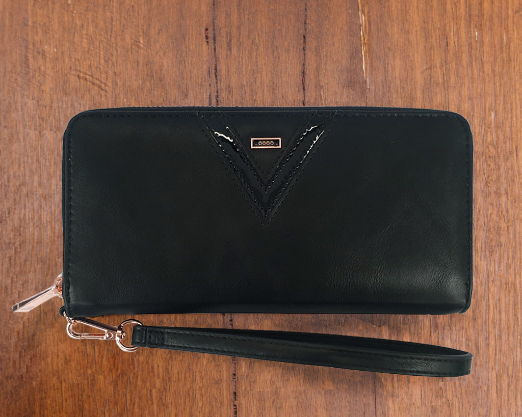Small Purse: Black / Patent Black (Rose Gold features) Lilly C  lilly-c.myshopify.com