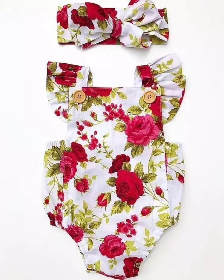 """Roses are Red"" Floral Romper w/ Headband"
