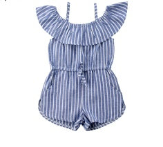 """Cold Shoulder"" Striped Romper w/pockets"