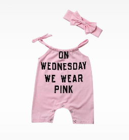 """On Wednesday We Wear Pink"" Mean Girls Slogan Romper/w Headband"