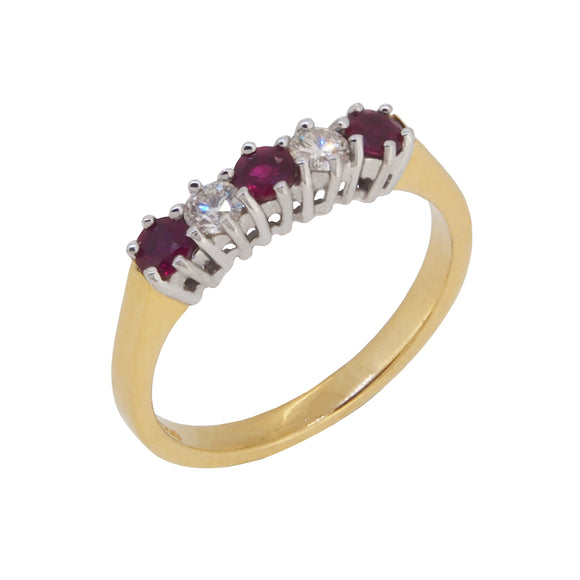 A modern, 18ct yellow gold, ruby & diamond set, five stone ring
