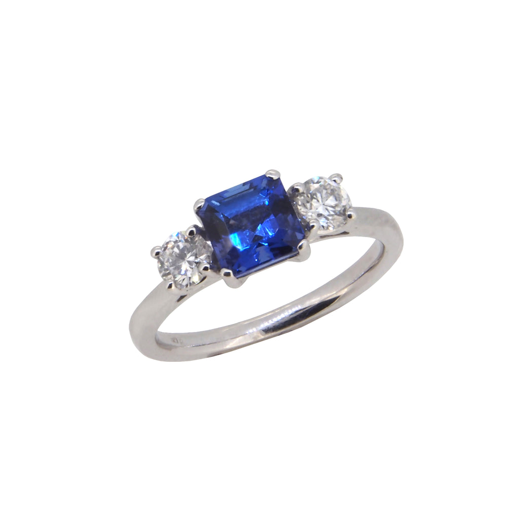 December Birthstone:- Tanzanite & Diamond Set Three Stone Ring