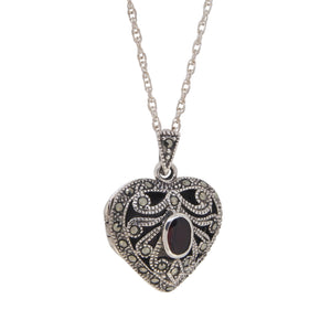 Marcasite & Garnet Set Heart Shaped Locket & Chain
