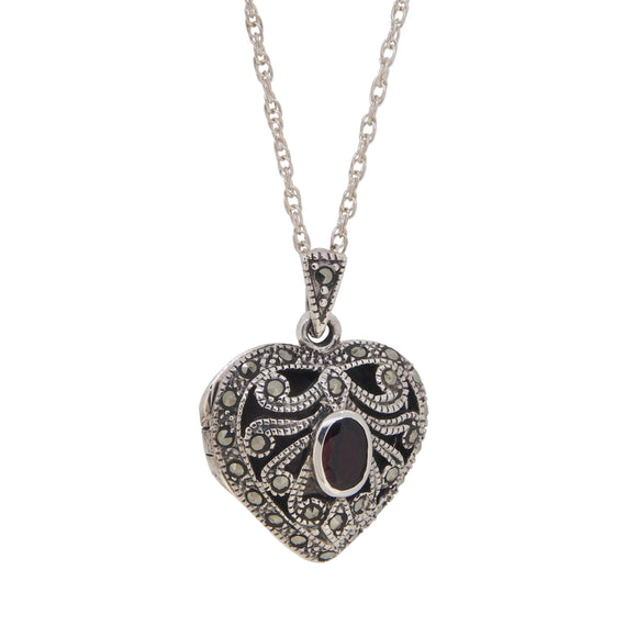 A modern, silver, marcasite & garnet set heart shaped locket & chain