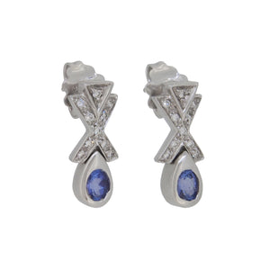 Tanzanite & Diamond Set Drop Earrings