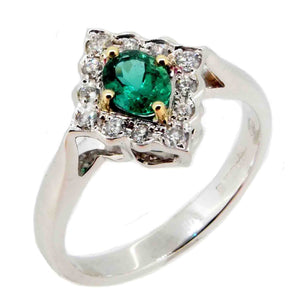 Emerald & Diamond Set Cluster Ring