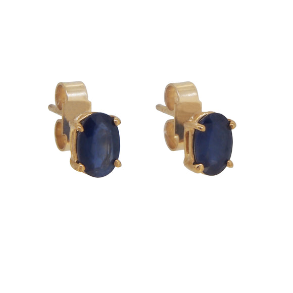 A pair of modern, 9ct yellow gold, sapphire set stud earrings