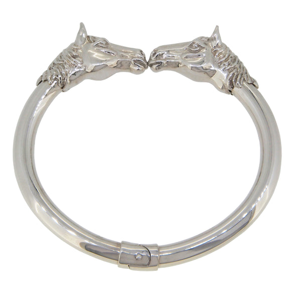 A modern, silver, horse style bangle
