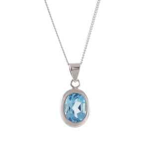 Blue Topaz Set Pendant & Chain