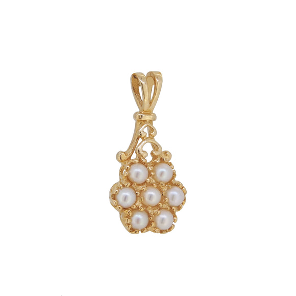 Pictured is a modern, 9ct yellow gold, freshwater pearl set cluster pendant