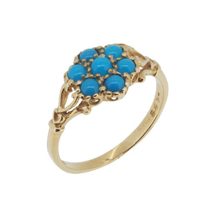Turquoise Set Cluster Ring