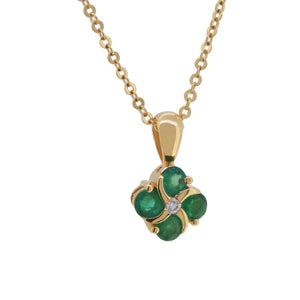 Emerald & Diamond Set Pendant & Chain