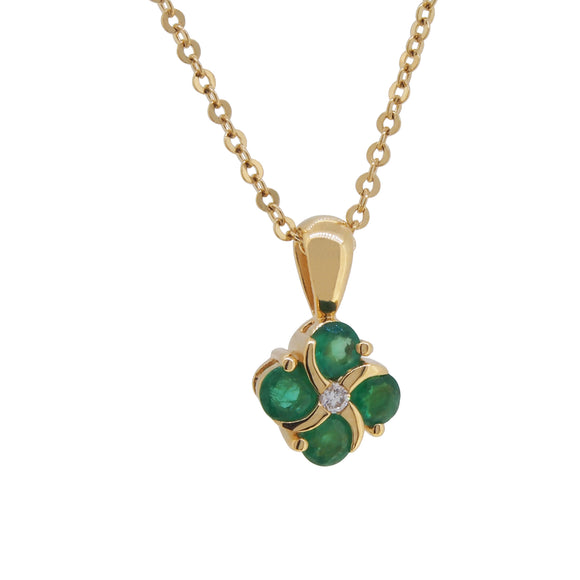 A modern, 18ct yellow gold, emerald & diamond set pendant & chain